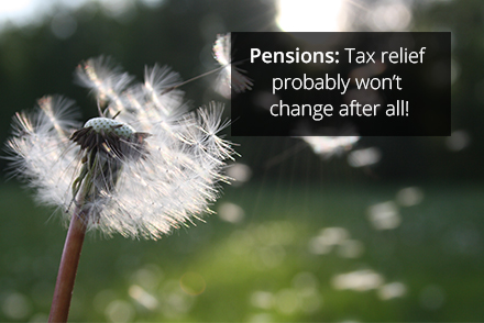 Pensions: Tax relief probably won't change after all!